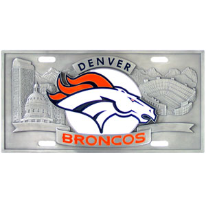 "Denver Broncos - 3D NFL License Plate - Denver Broncos 3D NFL License plate is great for your automobile or for show at home! 11 3/4"" x 5 13/16"". Check out our entire line of  automobile accessories! Officially licensed NFL product Licensee: Siskiyou Buckle Thank you for visiting CrazedOutSports.com"
