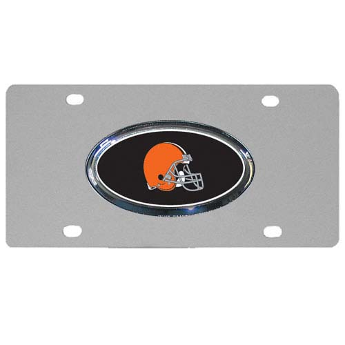 Cleveland Browns Steel Plate - Accessorize your vehicle or game room with this unique NFL steel plate featuring your team's logo on a stainless steel plate.