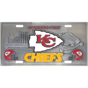"Kansas City Chiefs - 3D NFL License Plate - Kansas City Chiefs 3D NFL License plate is great for your automobile or for show at home! 11 3/4"" x 5 13/16"". Check out our entire line of  automobile accessories! Officially licensed NFL product Licensee: Siskiyou Buckle Thank you for visiting CrazedOutSports.com"