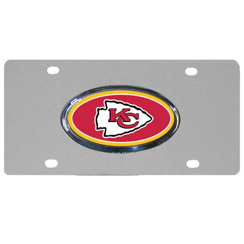 Kansas City Chiefs Steel Plate - Accessorize your vehicle or game room with this unique NFL steel plate featuring your team's logo on a stainless steel plate.