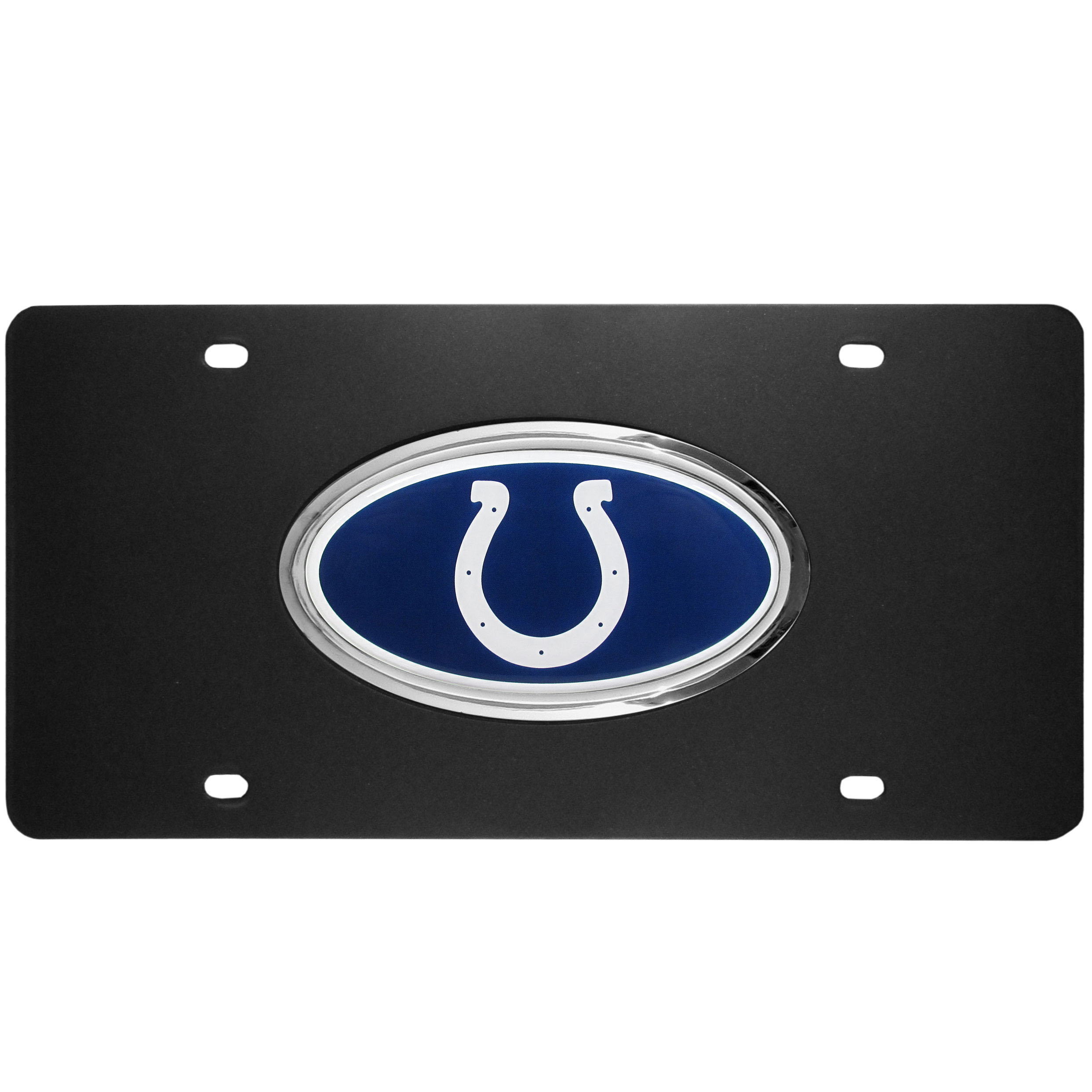 Indianapolis Colts Acrylic License Plate - Our Indianapolis Colts acrylic license plate is a step above the rest. It is made of thick, durable acrylic with a matte black finish and raised chrome saddle for the extra large team emblem.