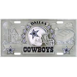 "Dallas Cowboys - 3D NFL License Plate - Cowboys three dimensional license plate. Made for your automobile but also great to display at work or home.  11 3/4"" X 5 13/16"" Officially licensed NFL product Licensee: Siskiyou Buckle Thank you for visiting CrazedOutSports.com"