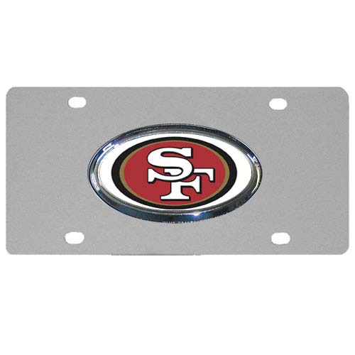 San Francisco 49ers Steel Plate - Accessorize your vehicle or game room with this unique NFL steel plate featuring your team's logo on a stainless steel plate.