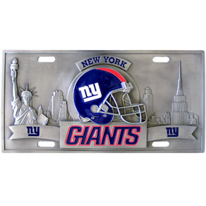 "New York Giants - 3D NFL License Plate - Giants three dimensional license plate. Made for your automobile but also great to display at home or work. 11 3/4"" X 5 13/16"" Officially licensed NFL product Licensee: Siskiyou Buckle Thank you for visiting CrazedOutSports.com"