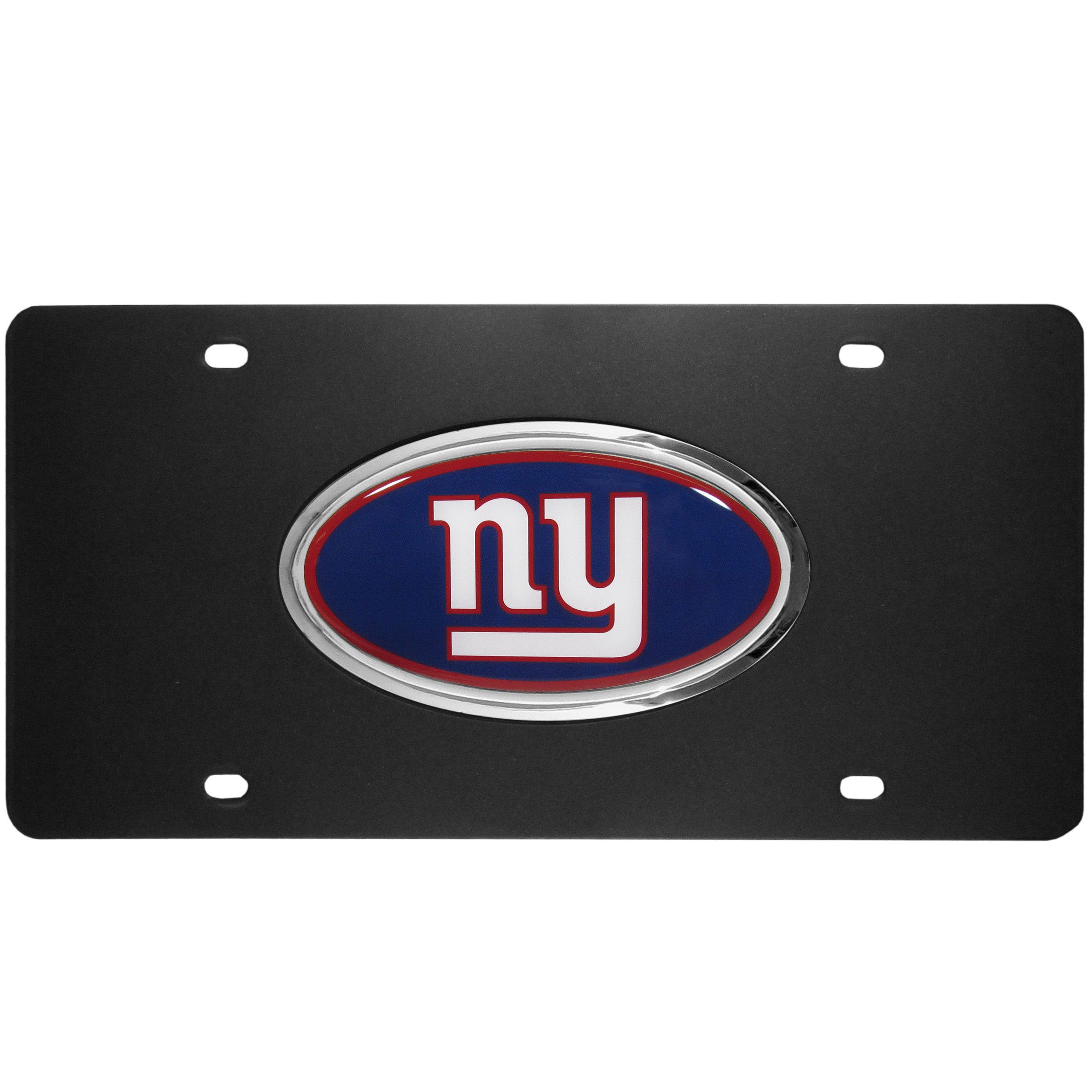 New York Giants Acrylic License Plate - Our New York Giants acrylic license plate is a step above the rest. It is made of thick, durable acrylic with a matte black finish and raised chrome saddle for the extra large team emblem.
