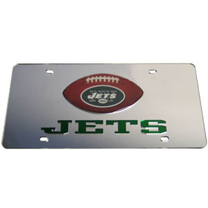 New York Jets Mirrored Plate - Show off your team pride on your vehicle or mounted on your wall with this New York Jets mirrored license plate. The plate has a mirrored acrylic front with the team name inlaid in laser cut acrylic and a team logo emblem.  Officially licensed NFL product Licensee: Siskiyou Buckle Thank you for visiting CrazedOutSports.com