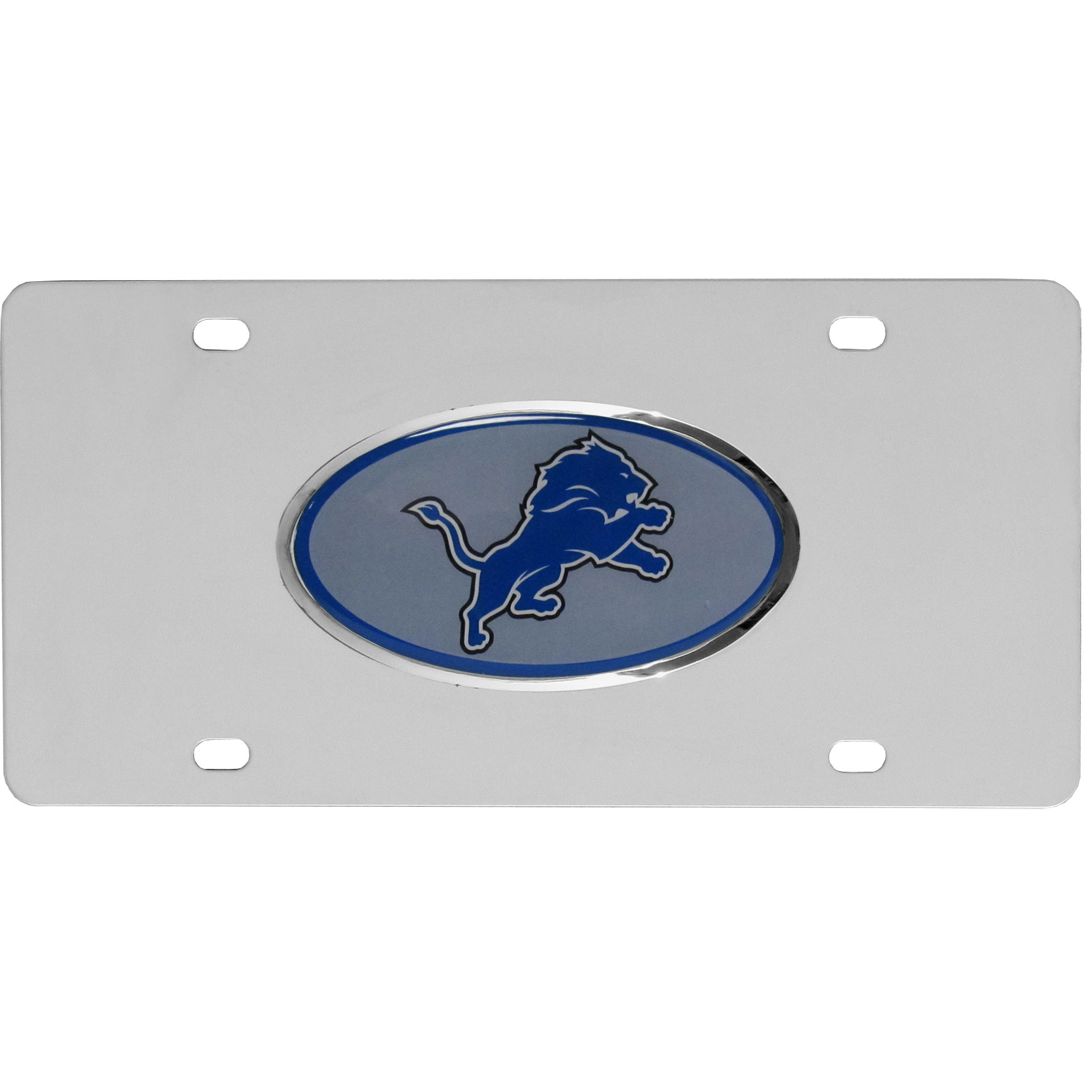 Detroit Lions Steel License Plate with Domed Emblem - Show off your team pride on your vehicle or mounted on your wall with this Detroit Lions stainless steel license plate with raised emblem with chrome border.