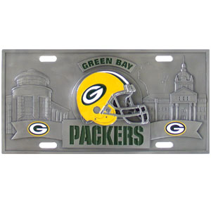 "Green Bay Packers - 3D NFL License Plate - Packers three dimensional license plate. Made for your automobile but also great to display at home or work. 11 3/4"" X 5 13/16"" Officially licensed NFL product Licensee: Siskiyou Buckle .com"
