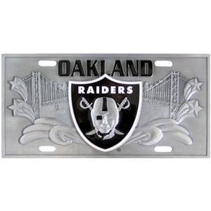 "Oakland Raiders - 3D NFL License Plate  - Raiders three dimensional license plate. Made for your automobile but also great to display at work or home. 11 3/4"" X 5 13/16"" Officially licensed NFL product Licensee: Siskiyou Buckle Thank you for visiting CrazedOutSports.com"