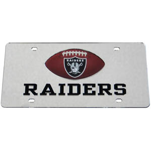 Oakland Raiders Mirrored Plate - Show off your team pride on your vehicle or mounted on your wall with this Oakland Raiders mirrored license plate. The plate has a mirrored acrylic front with the team name inlaid in laser cut acrylic and a team logo emblem.  Officially licensed NFL product Licensee: Siskiyou Buckle Thank you for visiting CrazedOutSports.com