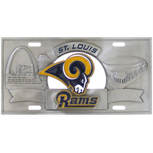 "St. Louis Rams - 3D NFL License Plate - Rams three dimensional license plate. Made for your automobile but also great to display at work or home. 11 3/4"" X 5 13/16 Officially licensed NFL product Licensee: Siskiyou Buckle Thank you for visiting CrazedOutSports.com"