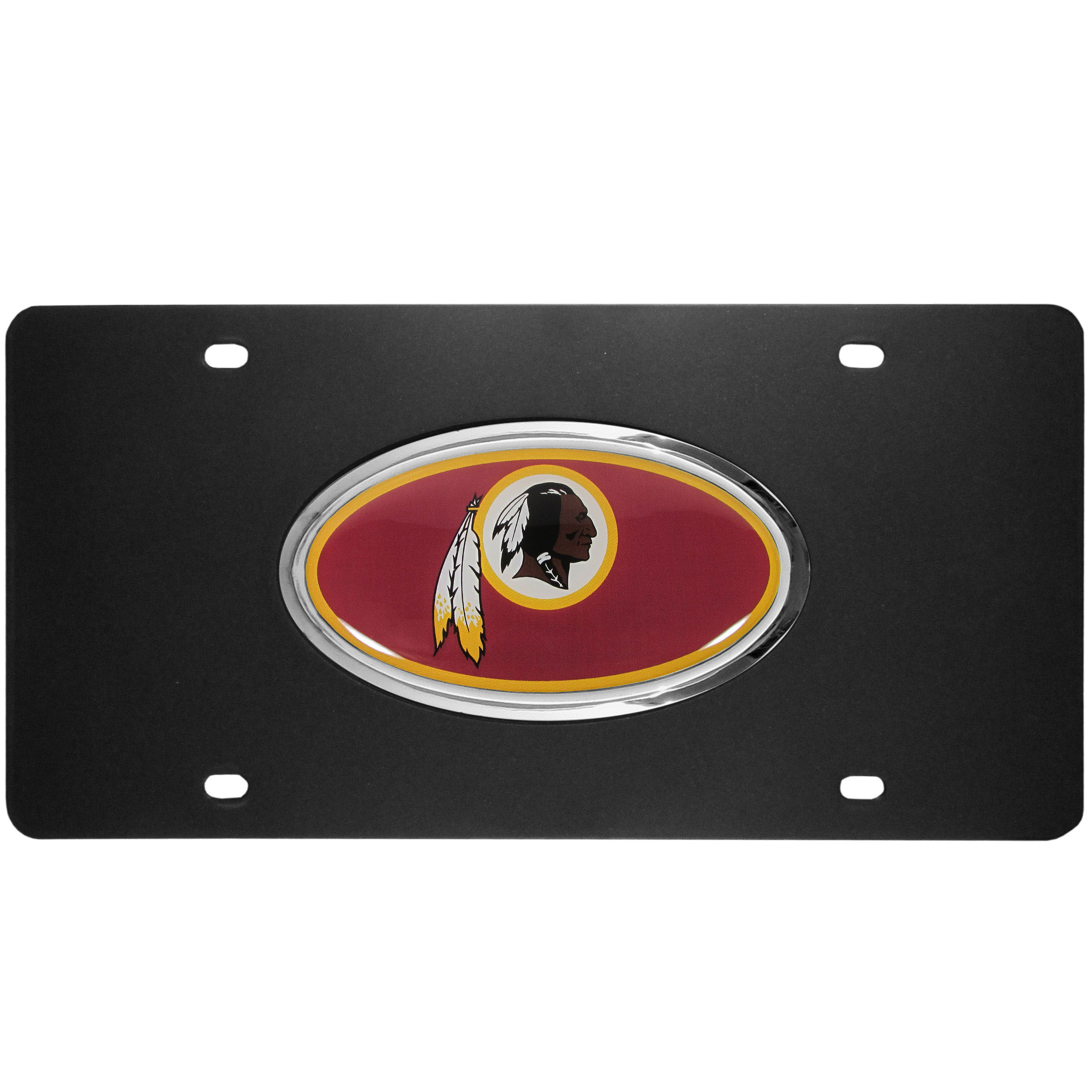 Washington Redskins Acrylic License Plate - Our Washington Redskins acrylic license plate is a step above the rest. It is made of thick, durable acrylic with a matte black finish and raised chrome saddle for the extra large team emblem.