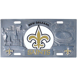 "New Orleans Saints - 3D NFL License Plate - New Orleans Saints 3D NFL License plate is great for your automobile or for show at home! 11 3/4"" x 5 13/16"". Officially licensed NFL product Licensee: Siskiyou Buckle Thank you for visiting CrazedOutSports.com"