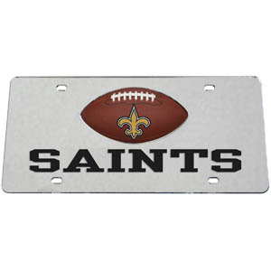 New Orleans Saints Mirrored Plate - Show off your team pride on your vehicle or mounted on your wall with this New Orleans Saints mirrored license plate. The plate has a mirrored acrylic front with the team name inlaid in laser cut acrylic and a team logo emblem.  Officially licensed NFL product Licensee: Siskiyou Buckle Thank you for visiting CrazedOutSports.com