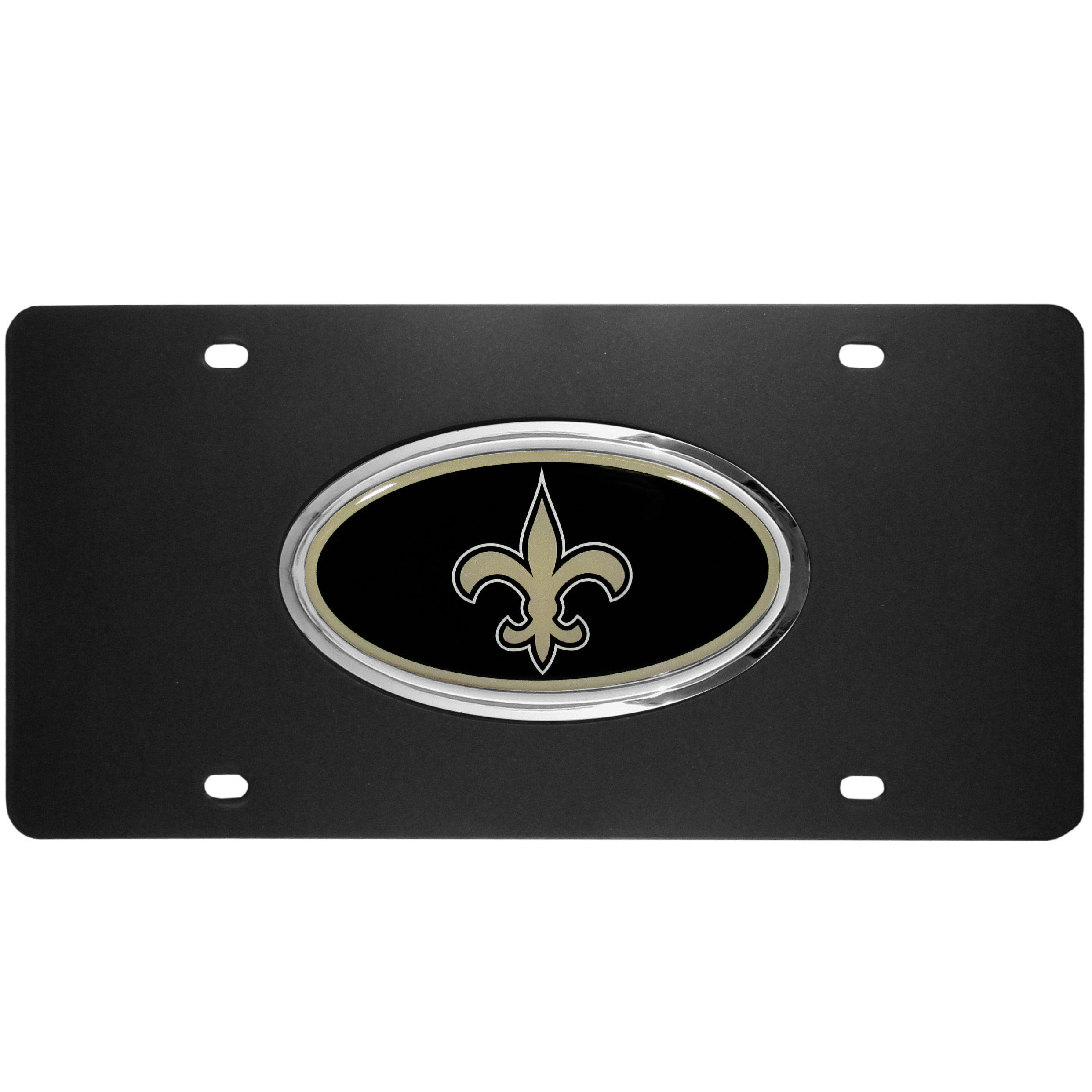 New Orleans Saints Acrylic License Plate - Our New Orleans Saints acrylic license plate is a step above the rest. It is made of thick, durable acrylic with a matte black finish and raised chrome saddle for the extra large team emblem.