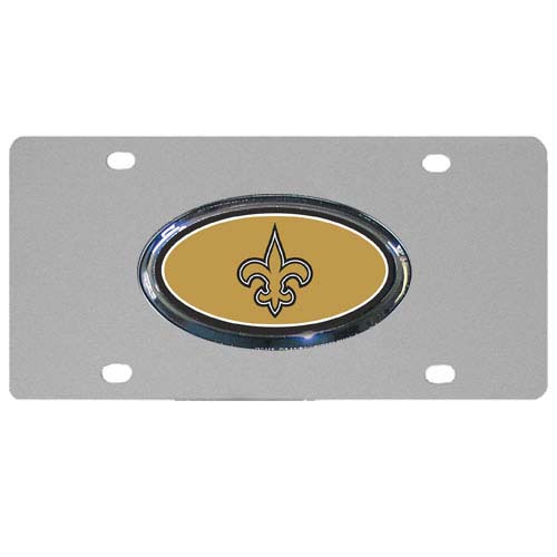 New Orleans Saints Steel Plate - Accessorize your vehicle or game room with this unique NFL steel plate featuring your team's logo on a stainless steel plate.