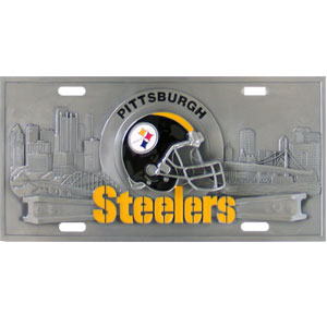 Pittsburgh Steelers - 3D NFL License Plate - Show off your team pride on your vehicle or mounted on your wall with this Pittsburgh Steelers mirrored license plate. The plate has a mirrored acrylic front with the team name inlaid in laser cut acrylic and a team logo emblem.  Officially licensed NFL product Licensee: Siskiyou Buckle .com