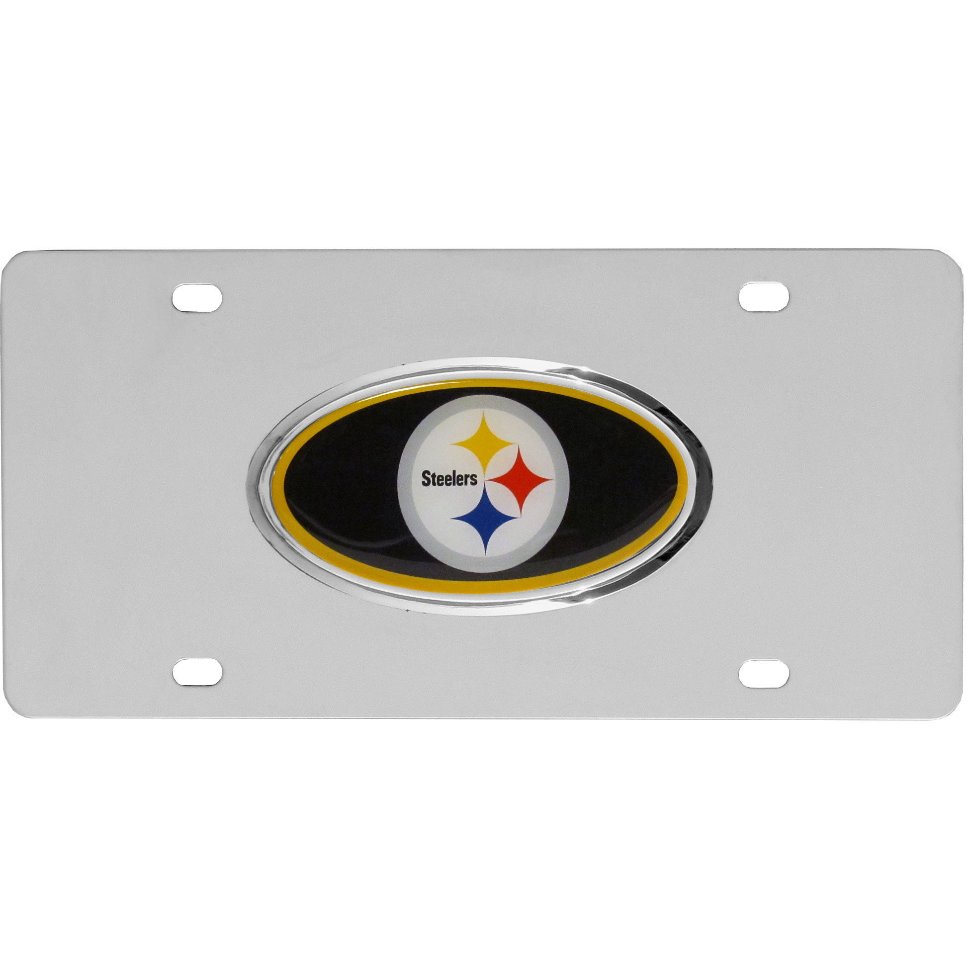 Pittsburgh Steelers Steel License Plate with Domed Emblem - Show off your team pride on your vehicle or mounted on your wall with this Pittsburgh Steelers stainless steel license plate with raised emblem with chrome border.
