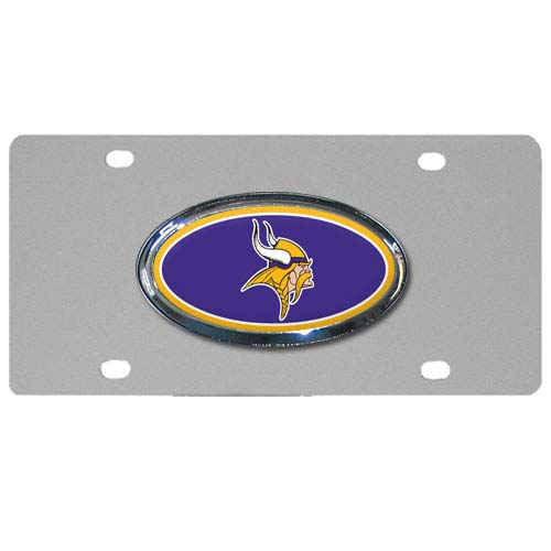 Minnesota Vikings Steel Plate - Accessorize your vehicle or game room with this unique NFL steel plate featuring your team's logo on a stainless steel plate.