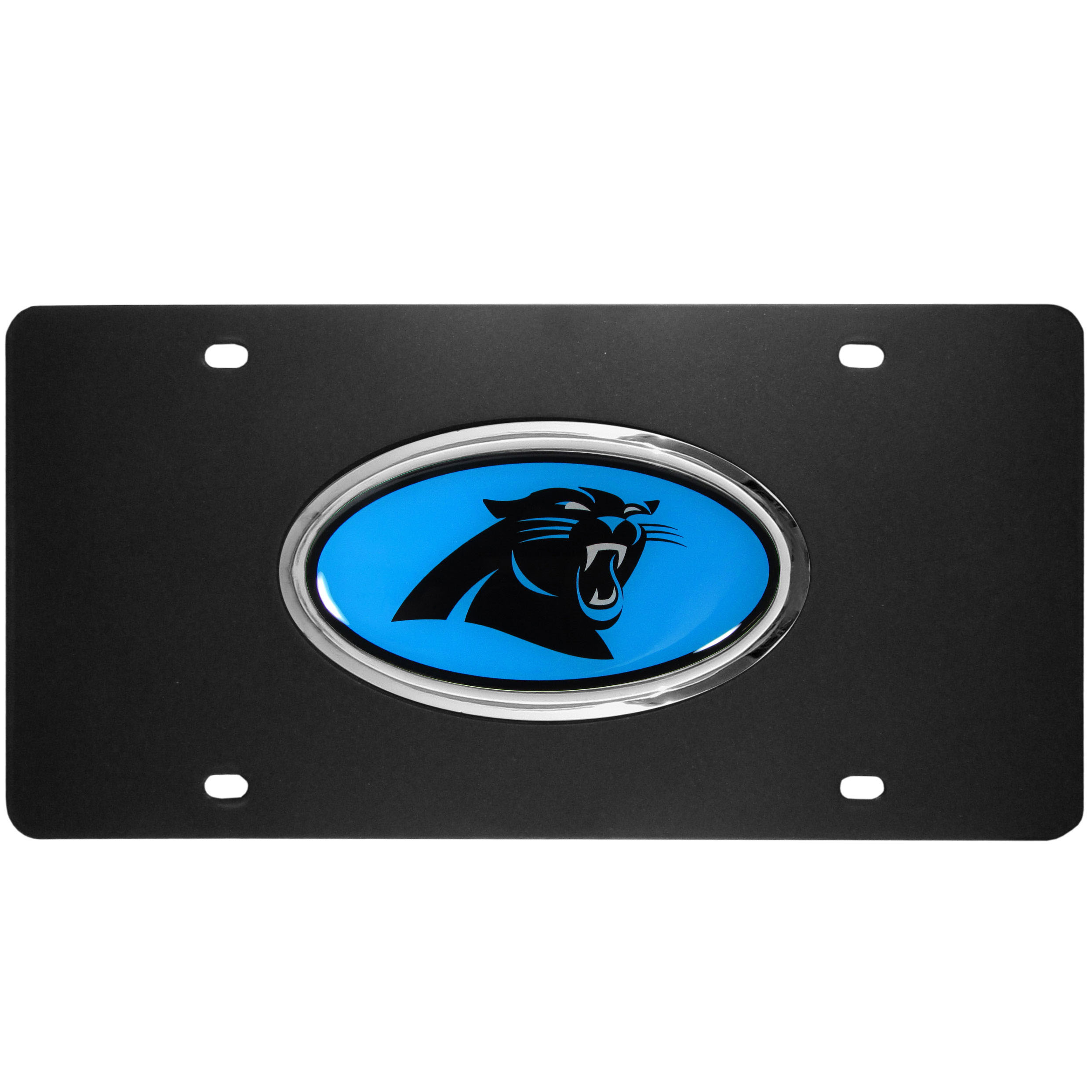 Carolina Panthers Acrylic License Plate - Our Carolina Panthers acrylic license plate is a step above the rest. It is made of thick, durable acrylic with a matte black finish and raised chrome saddle for the extra large team emblem.