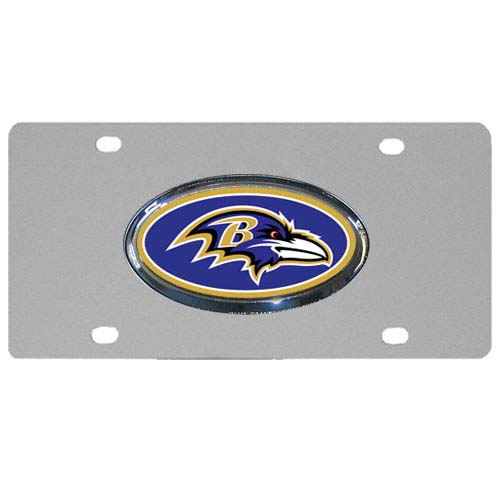 Baltimore Ravens Steel Plate - Accessorize your vehicle or game room with this unique NFL steel plate featuring your team's logo on a stainless steel plate.