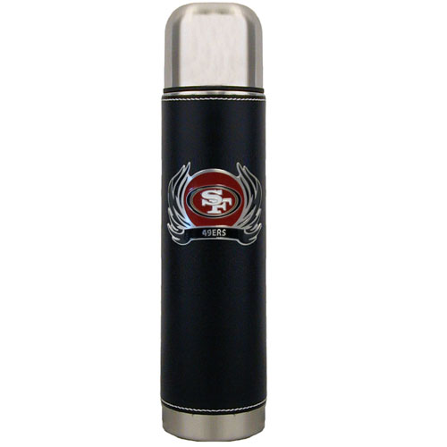 San Francisco 49ers Thermos - Keep your drinks piping hot for the big game with our NFL San Francisco 49ers thermos featuring a cast & enameled San Francisco 49ers emblem. Officially licensed NFL product Licensee: Siskiyou Buckle .com