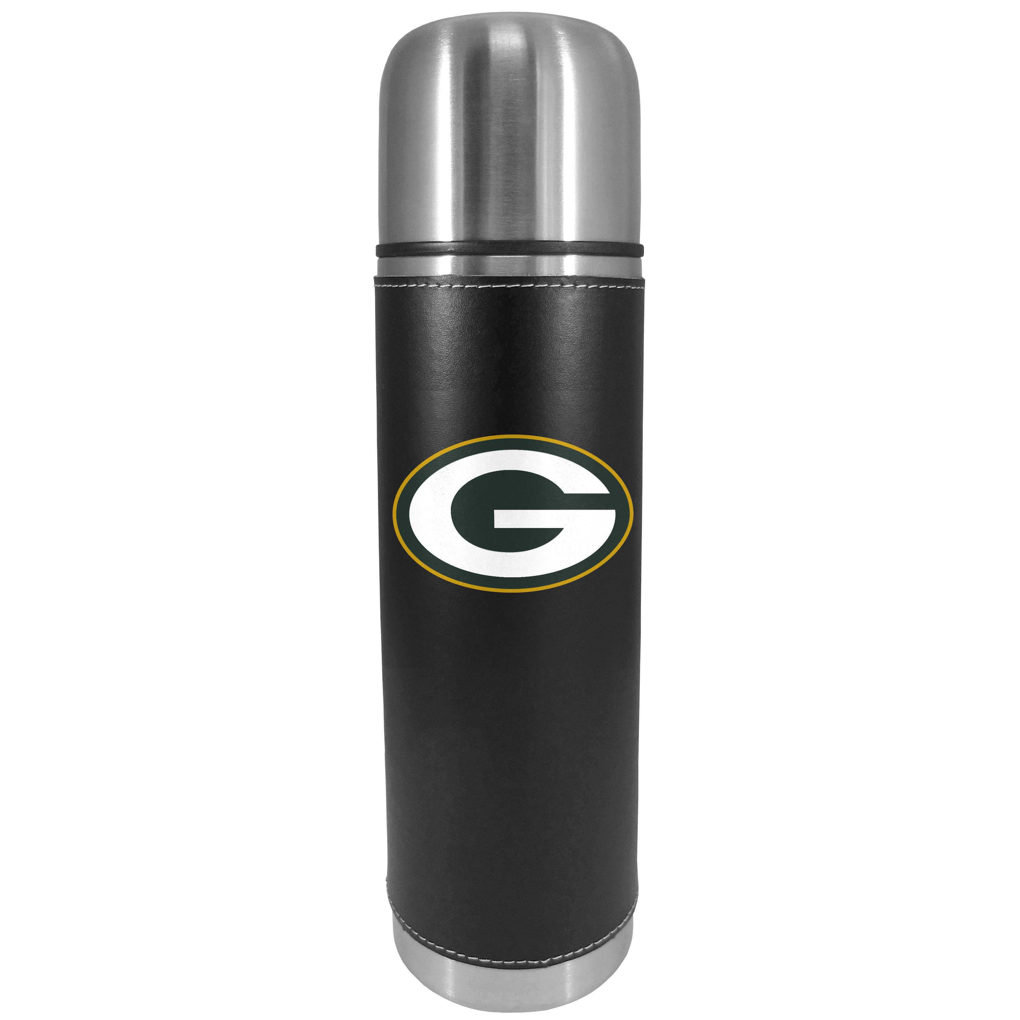 Green Bay Packers Graphics Thermos - This attractive, 26 ounce Green Bay Packers thermos is a great way to keep your beverages hot while on the go. The 11 inch tall, vacuum sealed thermos features a black vinyl wrap with stitched details and a digitally printed team logo. The lid screws on and can be used as a cup.
