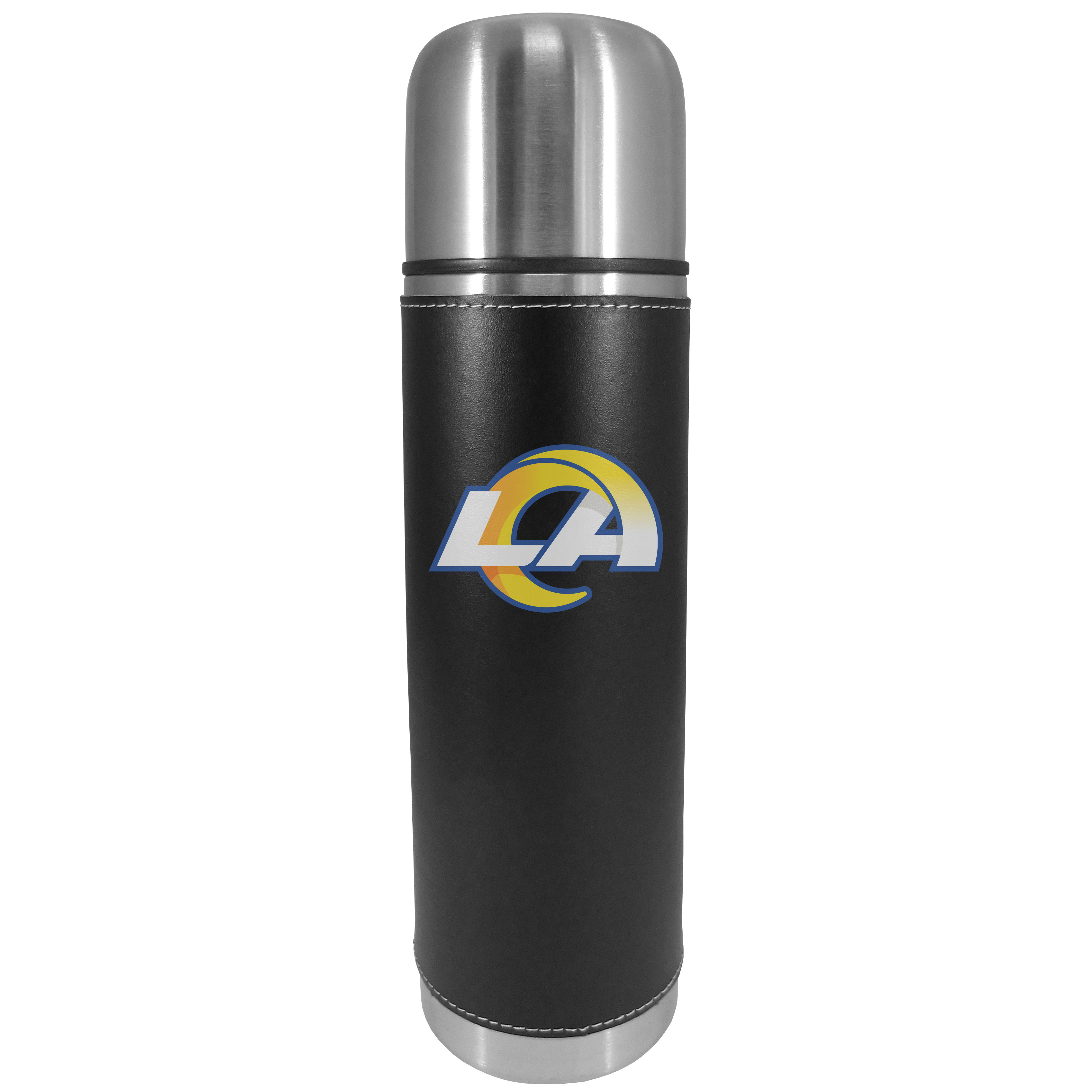 Los Angeles Rams Graphics Thermos - This attractive, 26 ounce Los Angeles Rams thermos is a great way to keep your beverages hot while on the go. The 11 inch tall, vacuum sealed thermos features a black vinyl wrap with stitched details and a digitally printed team logo. The lid screws on and can be used as a cup.