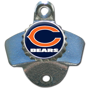 NFL Wall Bottle Opener - Chicago Bears - Our Chicago Bears sturdy wall mounted bottle opener is a great addition for your deck, garage or bar to show off your team spirit. Officially licensed NFL product Licensee: Siskiyou Buckle .com