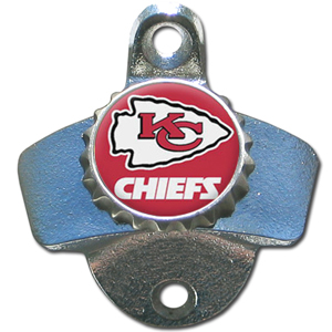 NFL Wall Bottle Opener - Kansas City Chiefs - Our Kansas City Chiefs sturdy wall mounted bottle opener is a great addition for your deck, garage or bar to show off your team spirit. Officially licensed NFL product Licensee: Siskiyou Buckle Thank you for visiting CrazedOutSports.com