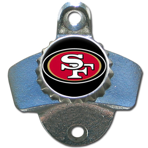 NFL Wall Bottle Opener - San Francisco 49ers - Our San Francisco 49ers sturdy wall mounted bottle opener is a great addition for your deck, garage or bar to show off your team spirit. Officially licensed NFL product Licensee: Siskiyou Buckle .com