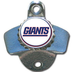 NFL Wall Bottle Opener - New York Giants - Our New York Giants sturdy wall mounted bottle opener is a great addition for your deck, garage or bar to show off your team spirit. Officially licensed NFL product Licensee: Siskiyou Buckle .com
