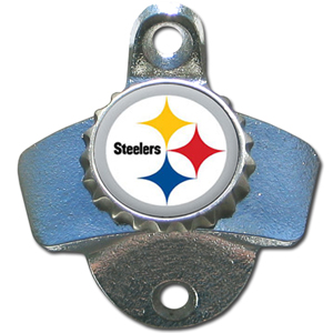 NFL Wall Bottle Opener - Pittsburgh Steelers - Our Pittsburgh Steelers sturdy wall mounted bottle opener is a great addition for your deck, garage or bar to show off your team spirit. Officially licensed NFL product Licensee: Siskiyou Buckle .com