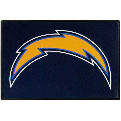 Los Angeles Chargers Game Day Wiper Flag - Our Los Angeles Chargers Game Day Wiper Flag is the first ever, sign-in-motion, that will display your team spirit as you're cruising the streets on game day! Keep your flag up year-round and swap out the interchangeable flag when needed. The flag easily attaches to the top of your windshield wiper or back of your bike. Remember to remove decal plate when entering the carwash.