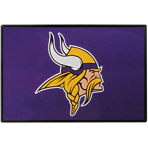 Minnesota Vikings Game Day Wiper Flag - Our Minnesota Vikings Game Day Wiper Flag is the first ever, sign-in-motion, that will display your team spirit as you're cruising the streets on game day! Keep your flag up year-round and swap out the interchangeable flag when needed. The flag easily attaches to the top of your windshield wiper or back of your bike. Remember to remove decal plate when entering the carwash.