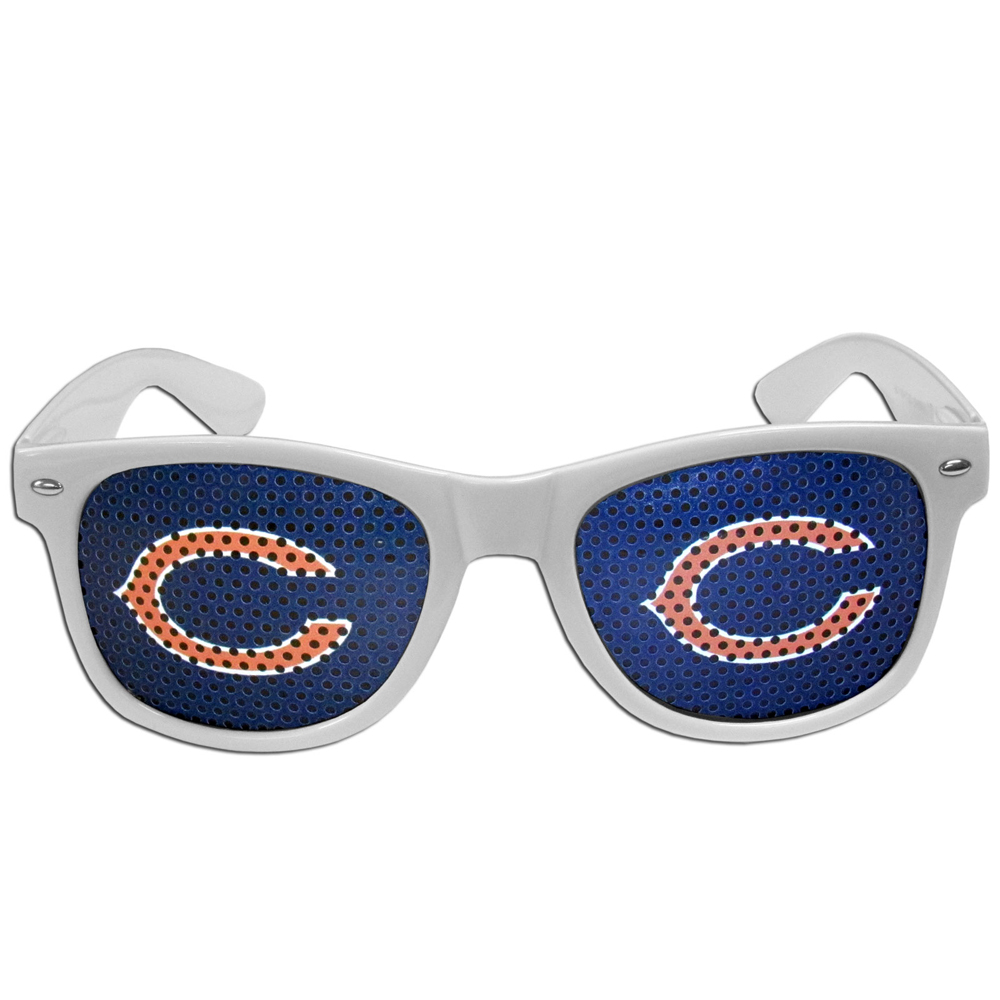 Chicago Bears Game Day Shades - Our officially licensed game day shades are the perfect accessory for the devoted Chicago Bears fan! The sunglasses have durable polycarbonate frames with flex hinges for comfort and damage resistance. The lenses feature brightly colored team clings that are perforated for visibility.