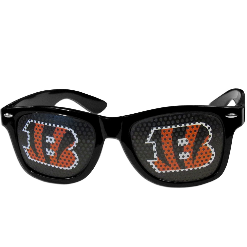 Cincinnati Bengals Game Day Shades - Our officially licensed game day shades are the perfect accessory for the devoted Cincinnati Bengals fan! The sunglasses have durable polycarbonate frames with flex hinges for comfort and damage resistance. The lenses feature brightly colored team clings that are perforated for visibility.