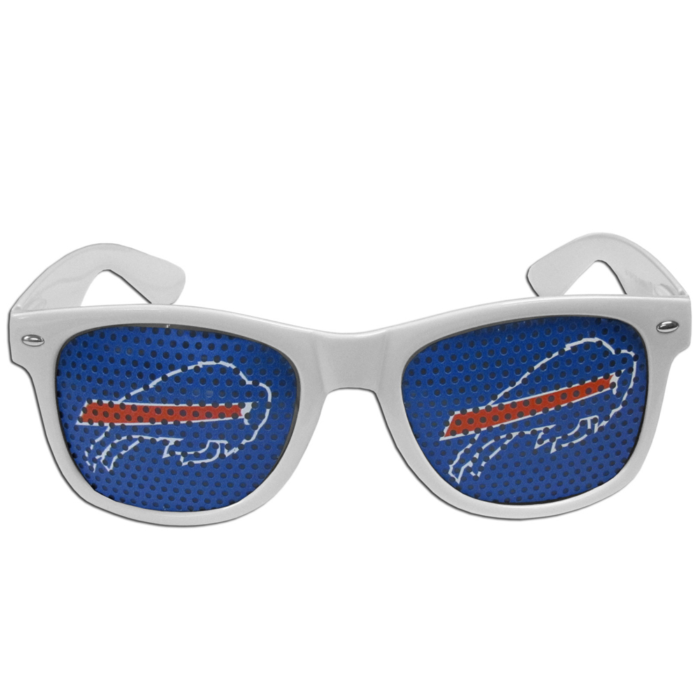 Buffalo Bills Game Day Shades - Our officially licensed game day shades are the perfect accessory for the devoted Buffalo Bills fan! The sunglasses have durable polycarbonate frames with flex hinges for comfort and damage resistance. The lenses feature brightly colored team clings that are perforated for visibility.