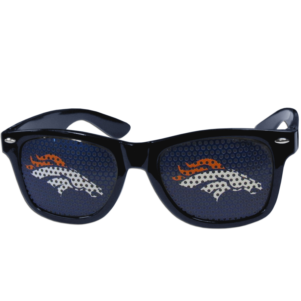 Denver Broncos Game Day Shades - Our officially licensed game day shades are the perfect accessory for the devoted Denver Broncos fan! The sunglasses have durable polycarbonate frames with flex hinges for comfort and damage resistance. The lenses feature brightly colored team clings that are perforated for visibility.