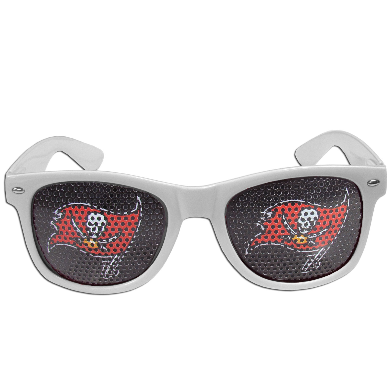 Tampa Bay Buccaneers Game Day Shades - Our officially licensed game day shades are the perfect accessory for the devoted Tampa Bay Buccaneers fan! The sunglasses have durable polycarbonate frames with flex hinges for comfort and damage resistance. The lenses feature brightly colored team clings that are perforated for visibility.