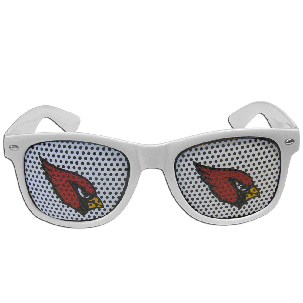 Arizona Cardinals Game Day Shades - Our officially licensed game day shades are the perfect accessory for the devoted Arizona Cardinals fan! The sunglasses have durable polycarbonate frames with flex hinges for comfort and damage resistance. The lenses feature brightly colored team clings that are perforated for visibility.