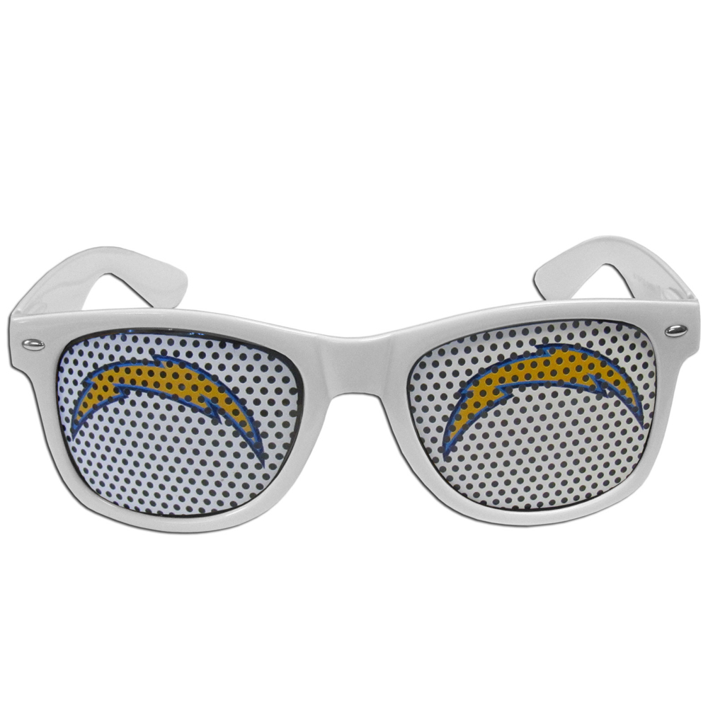 Los Angeles Chargers Game Day Shades - Our officially licensed game day shades are the perfect accessory for the devoted Los Angeles Chargers fan! The sunglasses have durable polycarbonate frames with flex hinges for comfort and damage resistance. The lenses feature brightly colored team clings that are perforated for visibility.
