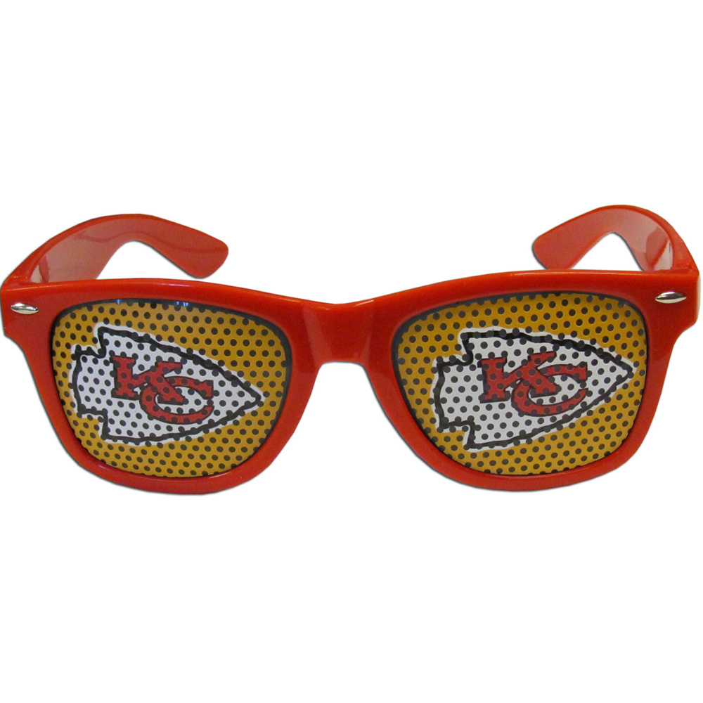 Kansas City Chiefs Game Day Shades - Our officially licensed game day shades are the perfect accessory for the devoted Kansas City Chiefs fan! The sunglasses have durable polycarbonate frames with flex hinges for comfort and damage resistance. The lenses feature brightly colored team clings that are perforated for visibility.