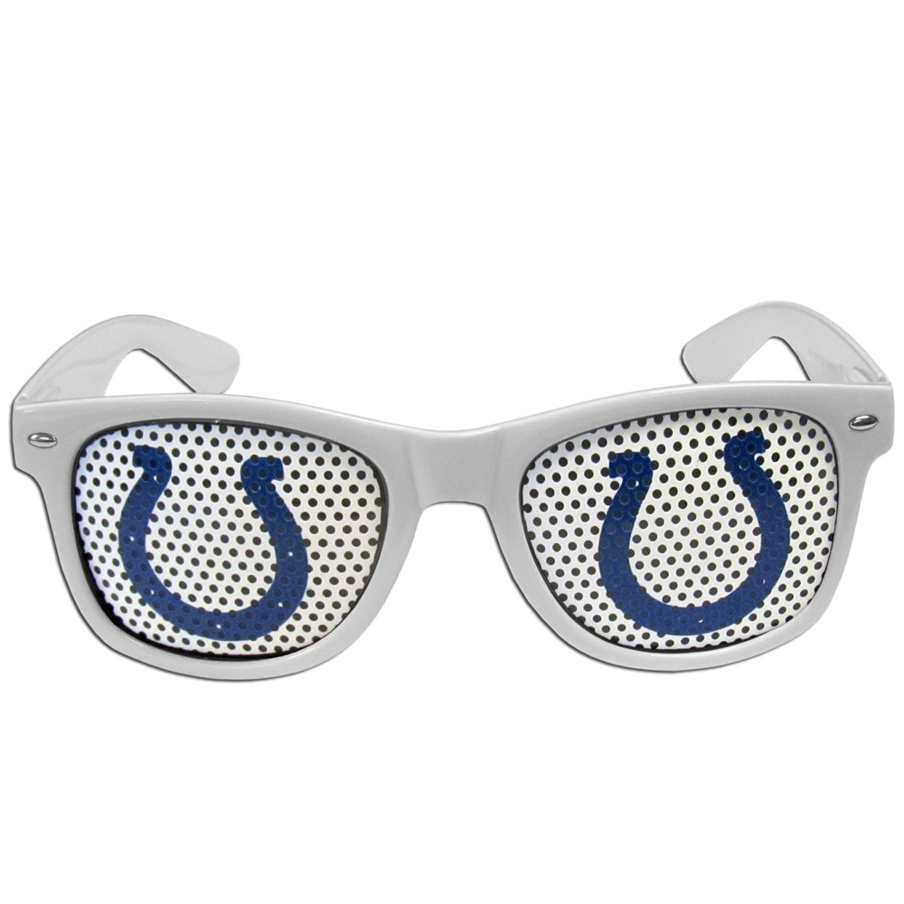 Indianapolis Colts Game Day Shades - Our officially licensed game day shades are the perfect accessory for the devoted Indianapolis Colts fan! The sunglasses have durable polycarbonate frames with flex hinges for comfort and damage resistance. The lenses feature brightly colored team clings that are perforated for visibility.