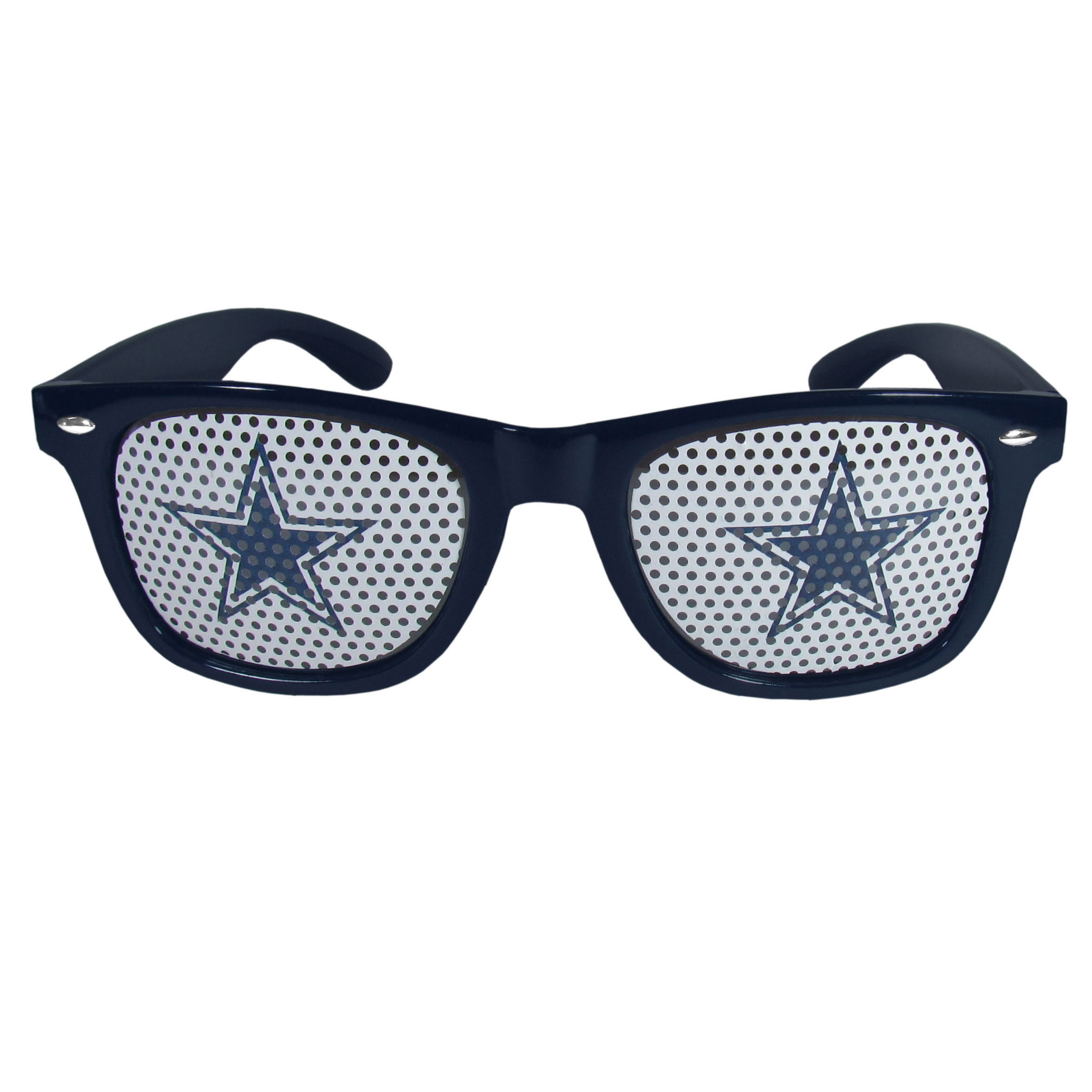 Dallas Cowboys Game Day Shades - Our officially licensed game day shades are the perfect accessory for the devoted Dallas Cowboys fan! The sunglasses have durable polycarbonate frames with flex hinges for comfort and damage resistance. The lenses feature brightly colored team clings that are perforated for visibility.
