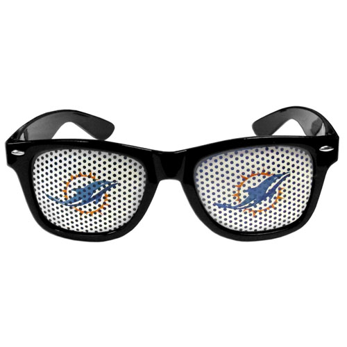 Miami Dolphins Game Day  Sunglasses - Our officially licensed NFL game day s are the perfect accessory for the devoted Miami Dolphins fan! The sunglasses have durable polycarbonate frames with flex hinges for comfort and damage resistance. The lenses feature brightly colored team clings that are perforated for visibility. Officially licensed NFL product Licensee: Siskiyou Buckle .com