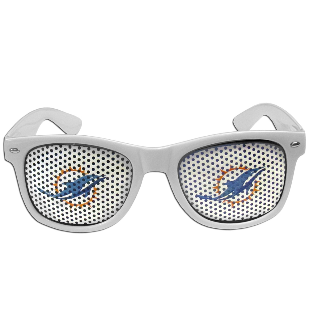 Miami Dolphins Game Day Shades - Our officially licensed game day shades are the perfect accessory for the devoted Miami Dolphins fan! The sunglasses have durable polycarbonate frames with flex hinges for comfort and damage resistance. The lenses feature brightly colored team clings that are perforated for visibility.