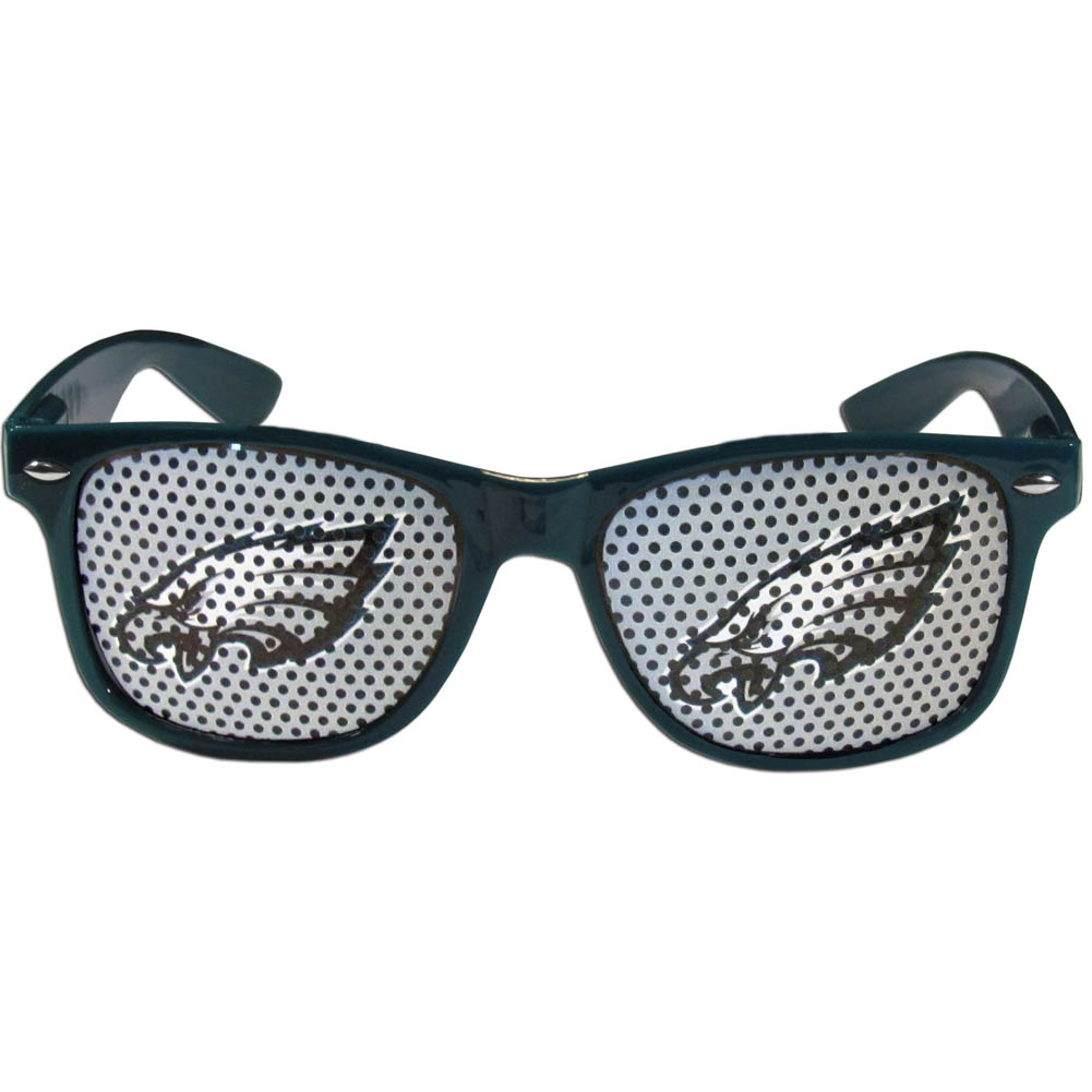 Philadelphia Eagles Game Day Shades - Our officially licensed game day shades are the perfect accessory for the devoted Philadelphia Eagles fan! The sunglasses have durable polycarbonate frames with flex hinges for comfort and damage resistance. The lenses feature brightly colored team clings that are perforated for visibility.