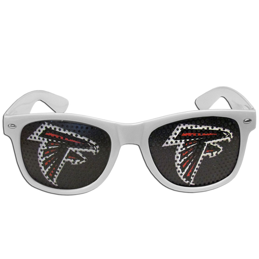 Atlanta Falcons Game Day Shades - Our officially licensed game day shades are the perfect accessory for the devoted Atlanta Falcons fan! The sunglasses have durable polycarbonate frames with flex hinges for comfort and damage resistance. The lenses feature brightly colored team clings that are perforated for visibility.