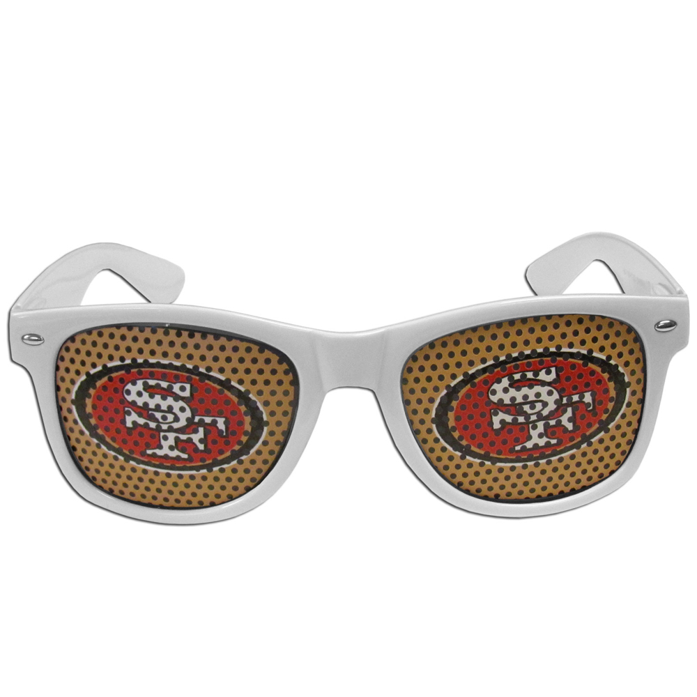 San Francisco 49ers Game Day Shades - Our officially licensed game day shades are the perfect accessory for the devoted San Francisco 49ers fan! The sunglasses have durable polycarbonate frames with flex hinges for comfort and damage resistance. The lenses feature brightly colored team clings that are perforated for visibility.
